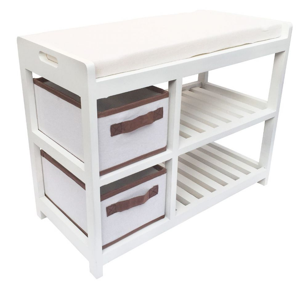 Assembled White Bedroom Hallway Padded Seat Stool Bench